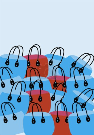 Photo pour Ensemble de sacs à provisions vides colorés Illustration avec copespace pour le texte - image libre de droit