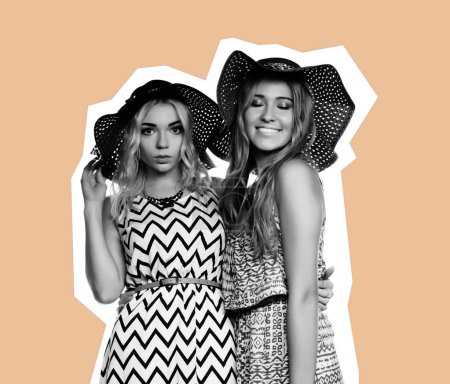 two best friends girls - Art collage, magazine style, over pink background