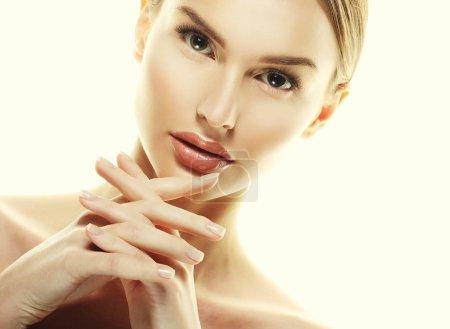 Beautiful Woman Face Portrait Beauty Skin Care Concept.