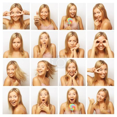 Photo for Collage of the same woman making diferent expressions. Studio shot. - Royalty Free Image