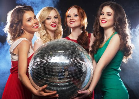 Photo for Lifestyle, party and people concept - Party happy girls with disco ball, happy and smile. - Royalty Free Image