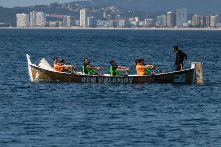 Rowing team on the ocean in Palamos, Costa Brava in Spain. 05. 20. 2018 Spain