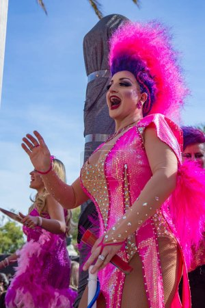 Photo for Pride of the lesbian, gay, bisexual and transgender People in the streets of Sitges, Spain on 17. Juny, 2018 - Royalty Free Image