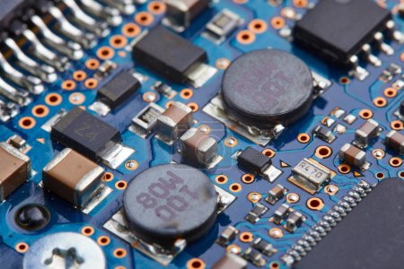 Photo for Close-up of electronic circuit board with processor of computer motherboard - Royalty Free Image