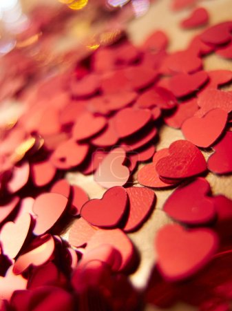 Photo for Close view of bright red hearts confetti - Royalty Free Image