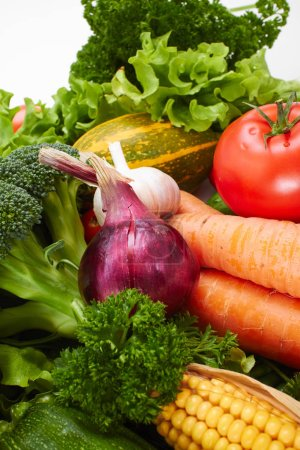 Photo for Pile of fresh vegetables on white background - Royalty Free Image