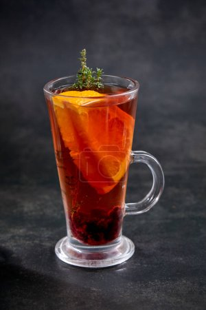 Photo for Winter drinks with herbs and fruits, close view - Royalty Free Image