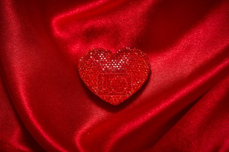 Photo for Valentines Day decoration on red silk fabric, romantic concept - Royalty Free Image