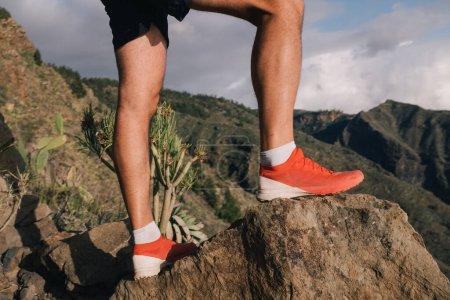 Photo pour Randonneur coureur réussi profiter de la vue sur le sommet de la falaise. Tenerife, Espagne - image libre de droit