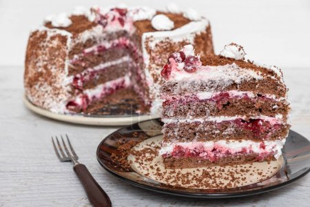 Photo for Sweet chocolate cherry cake - Royalty Free Image