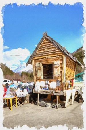Ölfarbe auf Leinwand. Bild mit Foto, Nachahmung der Malerei. Illustration. Märchenhaftes Blockhaus und kleiner Markt der warmen Stricksachen