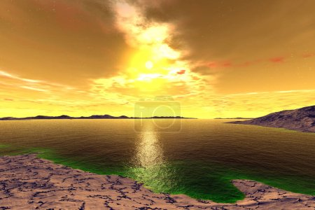Photo for Fantasy alien planet. Mountain and lake. 3D illustration - Royalty Free Image