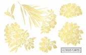 Decorative oleander flowers design elements Can be used for cards invitations banners posters print design Golden flowers
