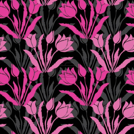 Photo for Elegant seamless pattern with tulip flowers, design elements. Floral  pattern for invitations, cards, print, gift wrap, manufacturing, textile, fabric, wallpapers - Royalty Free Image