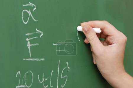 Photo for Cropped image of teacher writing with piece of chalk on blackboard - Royalty Free Image