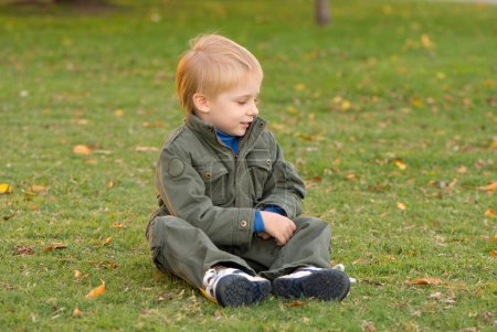 cute little boy sitting on green grass with yellow autumn leaves