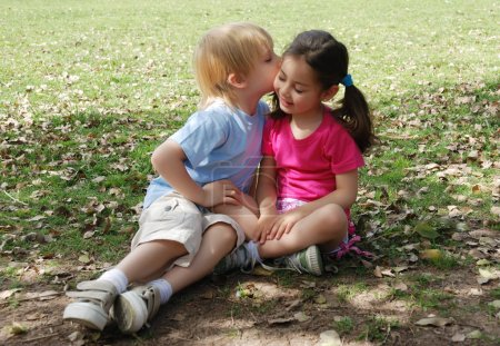 Photo for Adorable little kids spending time together in park - Royalty Free Image