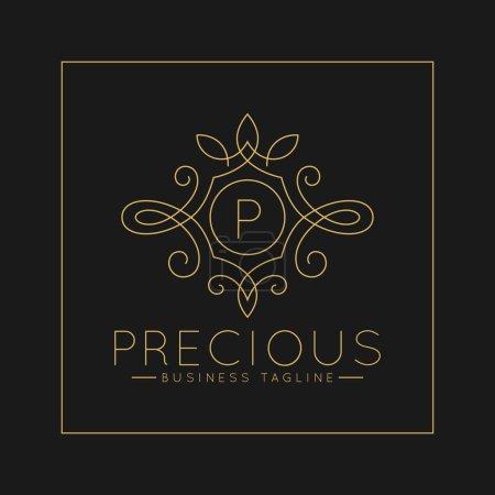 Photo pour Logo luxueux de P de lettre avec le modèle classique d'ornement d'art de ligne - image libre de droit