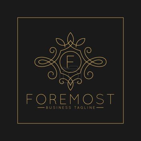 Photo pour Logo luxueux de lettre F avec le modèle classique d'ornement d'art de ligne - image libre de droit