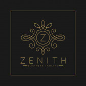 Luxurious Letter Z Logo with classic line art ornament style vector