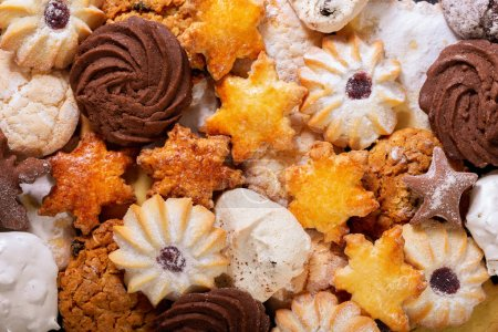 Photo for Assorted cookies as background, top view - Royalty Free Image