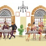 Series of people drinking coffee inside romantic c...