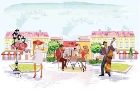 Illustration pour Série de rues avec des gens dans la vieille ville. Les serveurs servent les tables. Rue caf avec sreet musiciens . - image libre de droit