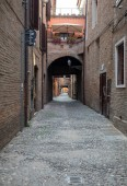 Via delle Volte of Ferrara in the medieval quarter. Emilia-Romagna. Italy.