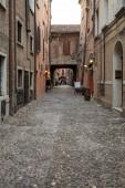 Ferrara, Italy - June 10, 2017: Via delle Volte of Ferrara in the medieval quarter. Emilia-Romagna. Italy. Via delle Volte of Ferrara in the medieval quarter. Emilia-Romagna. Italy.