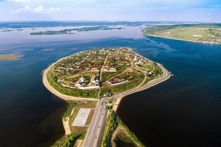 Aerial view of the town-island of Sviyazhsk. UNESCO world heritage in Russia