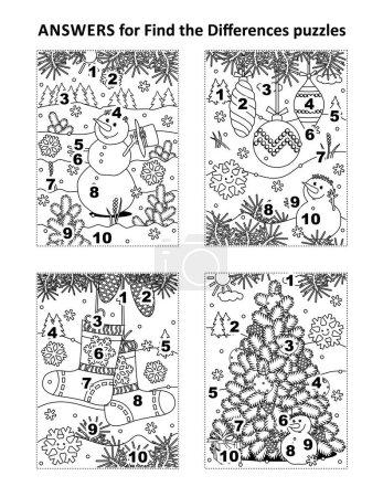 Photo pour Réponses pour 4 précédent trouver les différences puzzles visuels, qui sont des vacances d'hiver, Noël et Nouvel An sur le thème - image libre de droit
