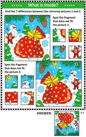 Puzzle visuel Nouvel An ou Noël avec sac du Père Noël, bonhomme de neige et ours en peluche. Trouvez les différences entre les images en miroir. Repérez les mauvais fragments. Réponses incluses .