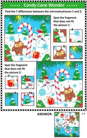 Nouvel An ou Noël puzzles visuels avec canne à bonbons, bonhomme de neige et hibou. Trouvez les différences entre les images en miroir. Repérez les mauvais fragments. Réponses incluses .