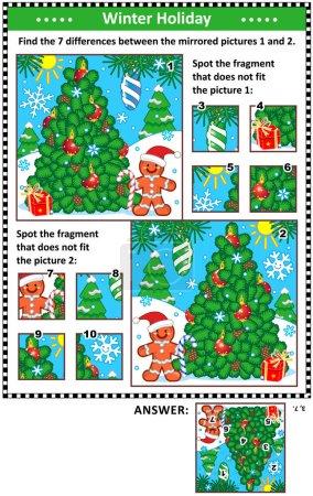 Nouvel An ou Noël puzzles visuels avec arbre de Noël et pain d'épice homme. Trouvez les différences entre les images en miroir. Repérez les mauvais fragments. Réponses incluses.