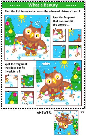 Nouvel An ou Noël puzzles visuels avec hibou et guirlande. Trouvez les différences entre les images en miroir. Repérez les mauvais fragments. Réponses incluses .