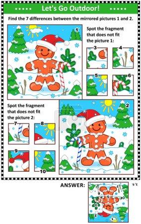 Nouvel An ou Noël puzzles visuels avec pain d'épice homme. Trouvez les différences entre les images en miroir. Repérez les mauvais fragments. Réponses incluses.