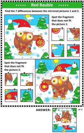 Puzzle visuel Nouvel An ou Noël avec hibou et boule rouge. Trouvez les différences entre les images en miroir. Repérez les mauvais fragments. Réponses incluses .
