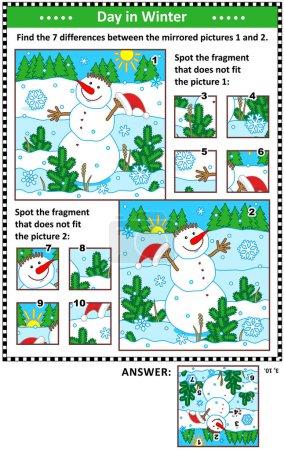Nouvel An ou Noël puzzles visuels avec bonhomme de neige joyeux. Trouvez les différences entre les images en miroir. Repérez les mauvais fragments. Réponses incluses .