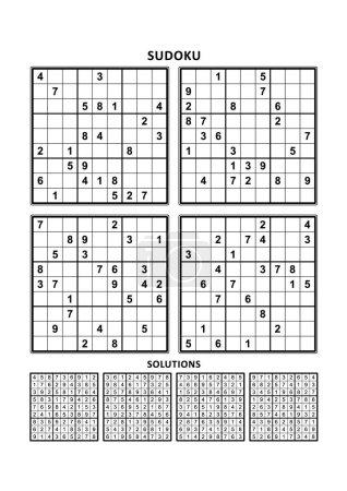 Illustration pour Quatre puzzles sudoku de niveau confortable (facile, mais pas très facile), en format A4 ou Lettre avec marges, adaptés aux livres en gros caractères, réponses incluses. Ensemble 14 . - image libre de droit