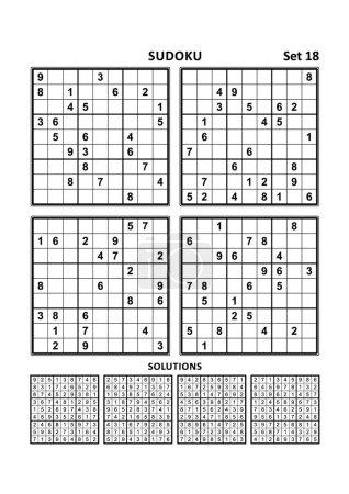 Illustration pour Quatre puzzles sudoku de niveau confortable (facile, mais pas très facile), en format A4 ou Lettre avec marges, adaptés aux livres en gros caractères, réponses incluses. Set 18 . - image libre de droit