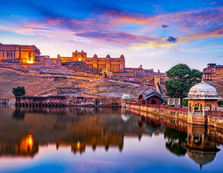 Photo for Amber Fort and Maota Lake at sunset.  Jaipur, Rajasthan, India, Asia - Royalty Free Image