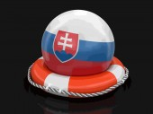 Ball with Slovak flag on lifebuoy