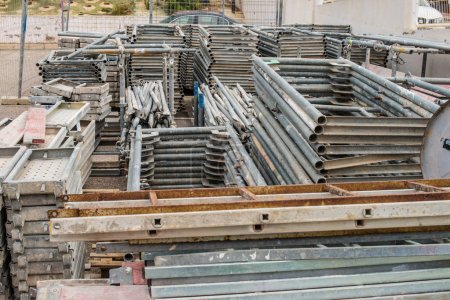 Assorted construction materials stored in piles