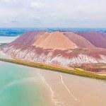 Huge potassium salt and sand piles, aerial landsca...