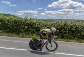 Bourgoin-Jallieu, France - 07, May, 2017: The Dutch cyclist Antwan Tolhoek of LottoNL-JumboTeam riding during the time trial stage 4 of Criterium du Dauphine 2017.