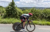 Bourgoin-Jallieu, France - 07, May, 2017: The Italian cyclist Matteo Bono of UAE Team Emirates riding during the time trial stage 4 of Criterium du Dauphine 2017.