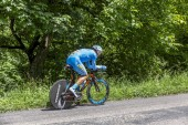 Bourgoin-Jallieu, France - 07, May, 2017: The Lithuanian cyclist Evaldas Siskevicius of Delko-Marseille Provence KTM Team riding during the time trial stage 4 of Criterium du Dauphine 2017.
