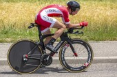 Bourgoin-Jallieu, France - 07, May, 2017: The French cyclist Anthony Turgis of Cofidis Team riding during the time trial stage 4 of Criterium du Dauphine 2017.