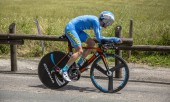 Bourgoin-Jallieu, France - 07, May, 2017: The French cyclist Thierry Hupond of Delko-Marseille Provence KTM Team riding during the time trial stage 4 of Criterium du Dauphine 2017.