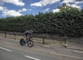 Bourgoin-Jallieu, France - 07, May, 2017: The German cyclist Christian Knees of Team Sky riding during the time trial stage 4 of Criterium du Dauphine 2017.